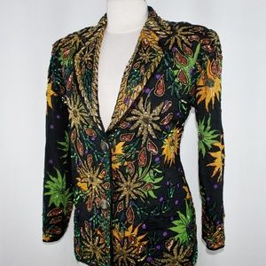Jasdee Vintage Blazer Jacket Hand Work Beads & Seq